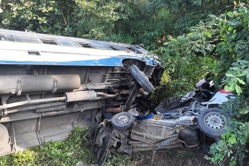 1 killed as bus falls off road after collision with car